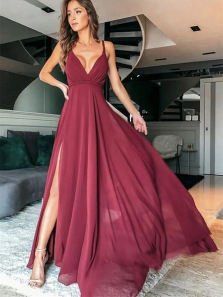Simple A Line V Neck Burgundy Long Prom Dresses, Burgundy Formal  Evening Graduation Dresses