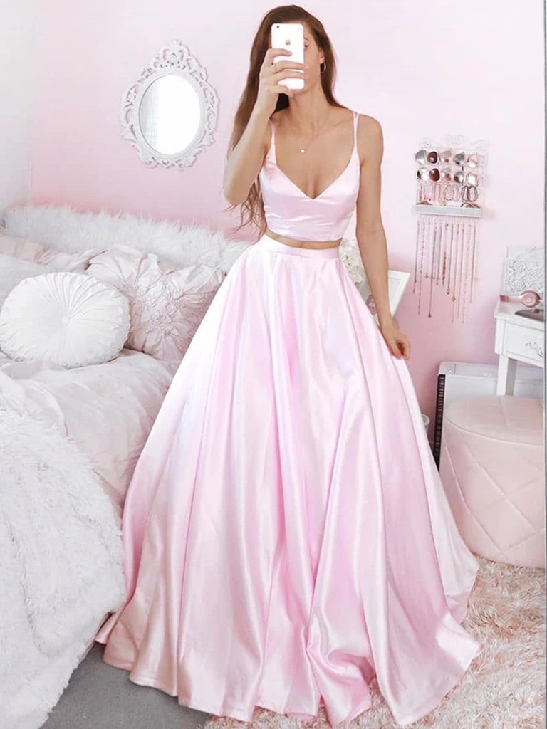 V Neck Two Pieces Pink Satin Long Prom Dresses, 2 Pieces Pink Formal Evening Dresses