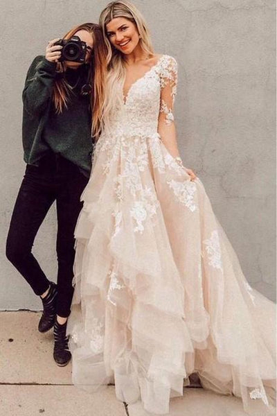 A Line Champagne Long Sleeves  Lace Wedding Dresses, Champagne Lace Prom Dresses, Lace Evening Dresses