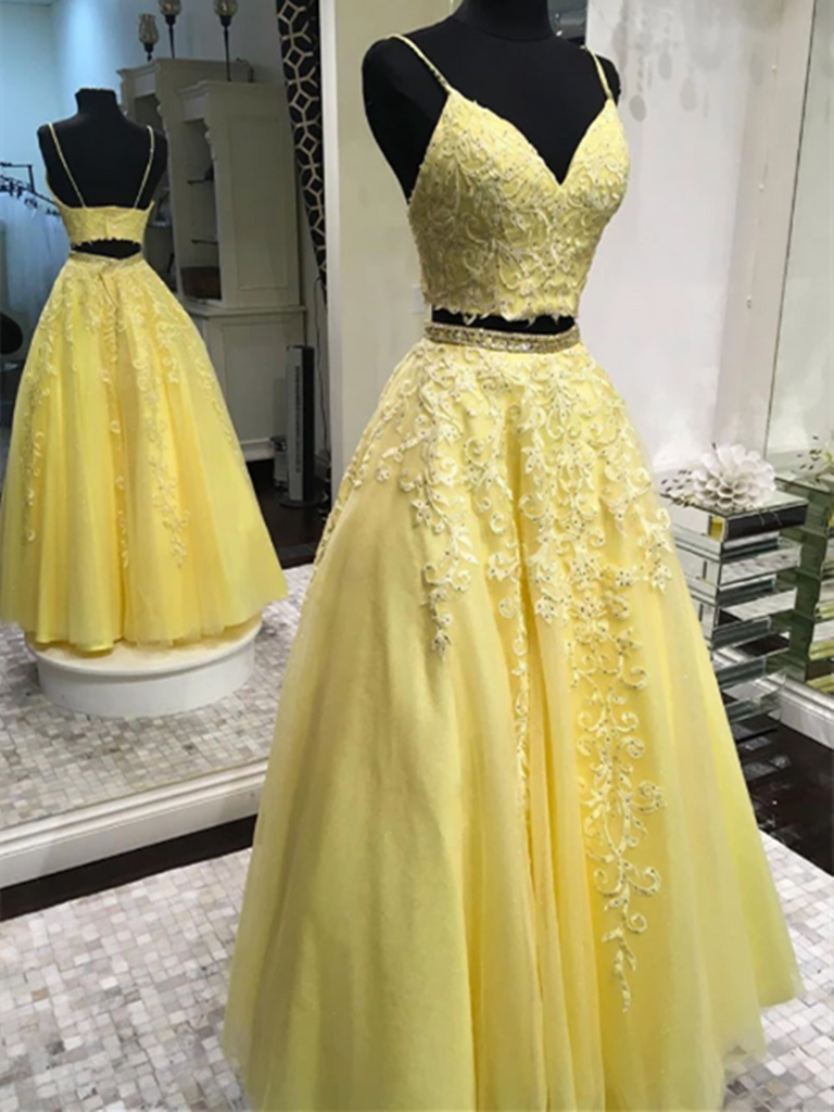 V Neck 2 Pieces Yellow Tulle Lace Long Prom Dresses, Two Pieces Evening Dresses