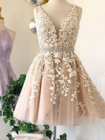 A Line V Neck Short Champagne Lace Prom Dresses, Short V Neck Champagne Lace Graduation Homecoming Formal Dresses, Short Champagne Lace Wedding Dresses