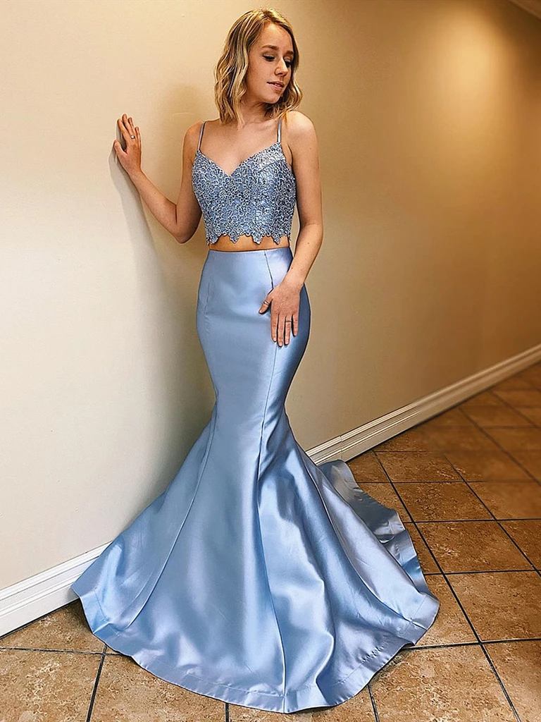 V Neck Blue Mermaid Lace Two Pieces Long Prom Party Dresses, Blue Mermaid Lace 2 Pieces Formal Evening Graduation Dresses