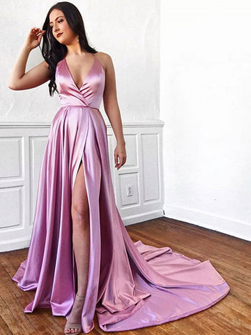 Pink v neck satin long prom dress, Pink v neck satin high slit formal evening dress