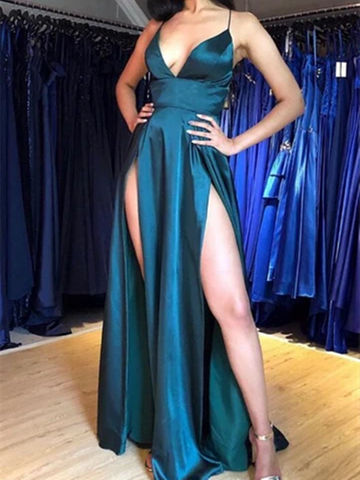 Sexy V Neck Blue Satin Long Prom Dresses With Slit, Wedding Party Dresses, Blue Satin Long Formal Evening Dresses