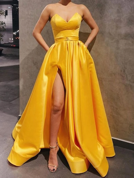 Sweetheart Neck Yellow Satin Long Prom Dresses With High Leg Slit, Yellow Satin Long Formal Evening Graduation Dresses