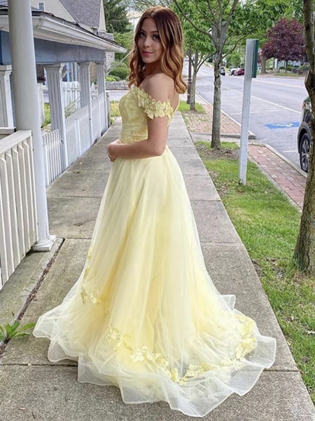 Yellow Off Shoulder Floral Tulle Long Prom Dresses, Yellow Off The Shoulder Floral Long Formal Evening Graduation Dresses
