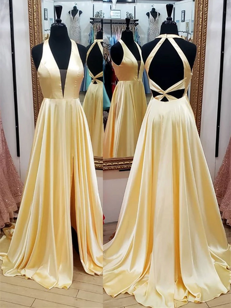 Simple V Neck Yellow Backless Satin Long Prom Dresses, Simple V Neck Yellow Backless Satin Long Formal Evening Dresses