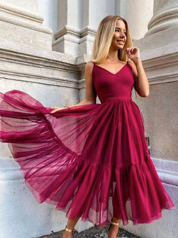 Simple V Neck Burgundy Tulle Prom Dresses, Simple V Neck Blue Tulle Prom Dresses