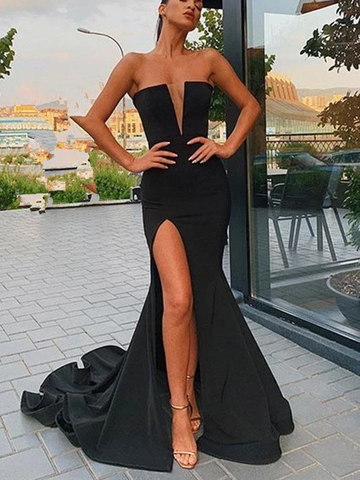 Sexy Mermaid Black Deep V Neck Sleeveless Prom Dresses With Side Leg Slit, Mermaid Black Strapless Formal Evening Dresses
