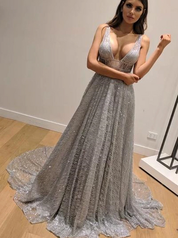 Shiny V Neck Backless Silver Grey Long Prom Dresses,  Silver Grey Backless Formal Graduation Evening Dresses