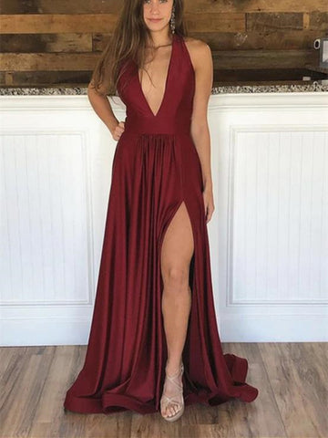 V Neck Backless Burgundy Prom Dresses With Leg Slit, Wine Red Backless V Neck Formal Evening Graduation Dresses