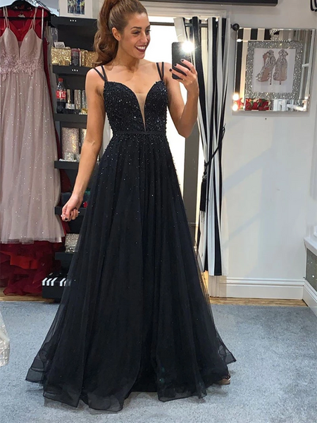 V Neck Black Tulle Beads Long Prom Dresses, Open Back Black Formal Evening Dresses