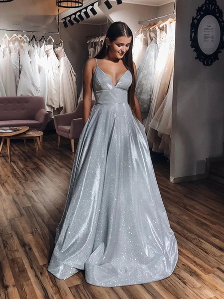 A Line V Neck Silver Gray Long Prom Dresses, Silver Gray Long Formal Evening Dresses