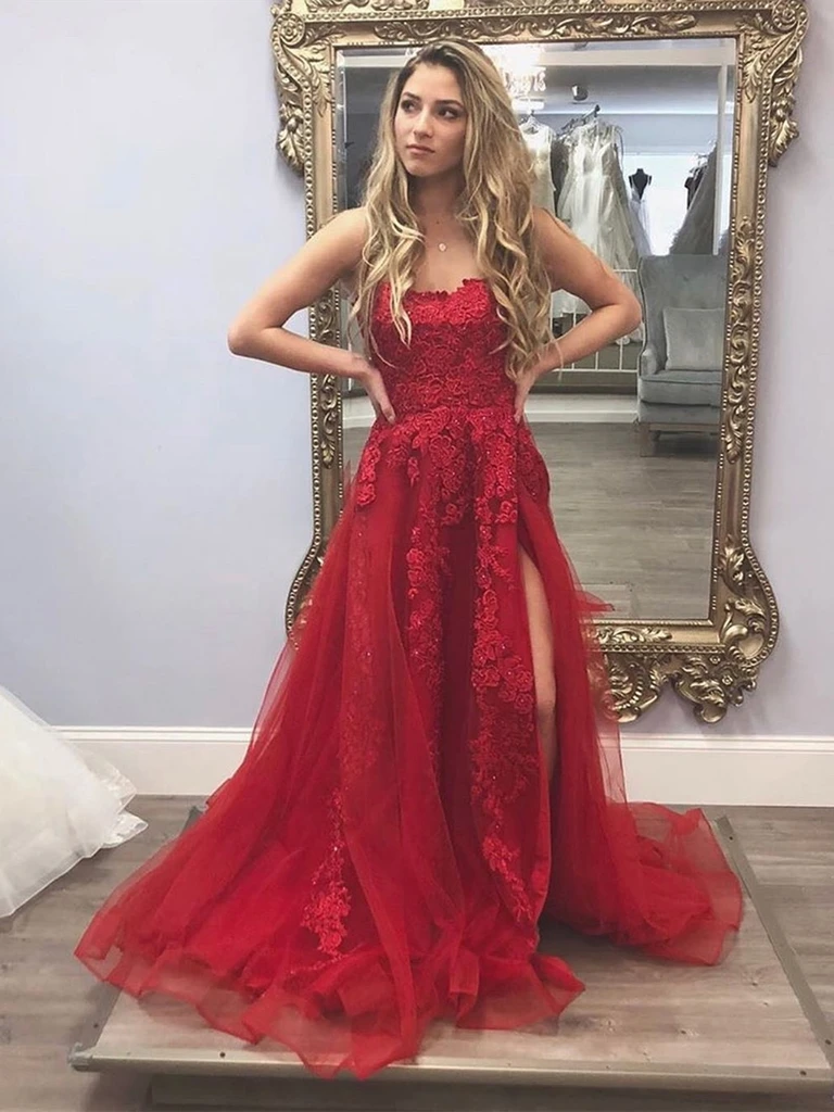 A Line Burgundy Lace Appliques Long Prom Dresses with High Slit, Burgundy Lace Formal Evening Dresses