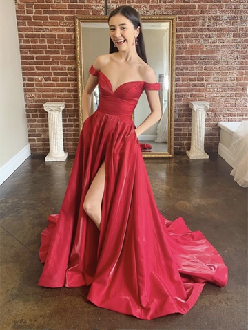 Burgundy Off Shoulder Satin Long Prom Dresses With Leg Slit, Maroon Formal Dresses, Wine Red Off The Shoulder Evening Graduation Dresses