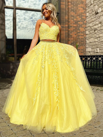 V Neck 2 Pieces Yellow Lace Long Prom Dresses, Two Pieces Yellow Lace Formal Evening Dresses
