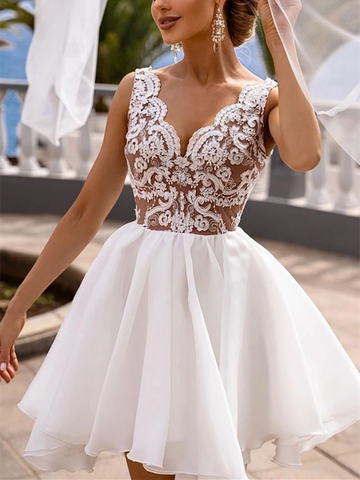 A Line V Neck White Lace Short Prom Dresses, Short White Lace Formal Graduation Homecoming Dresses