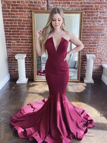 Mermaid V Neck Strapless Burgundy Satin Long Prom Dresses, Burgundy Mermaid Formal Evening Dresses