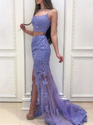 Mermaid Purple Two Pieces Lace Backless Long Prom Dresses, Mermaid Purple 2 Pieces Lace Backless Long Formal Evening Dresses