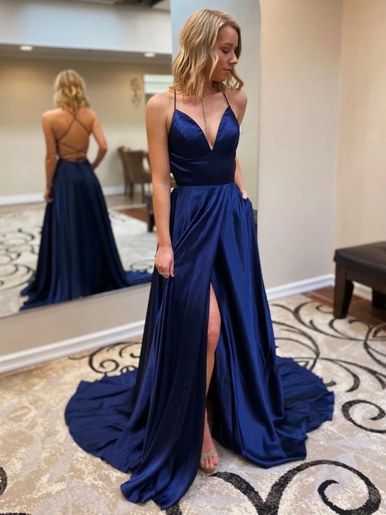 A Line V Neck Dark Blue Open Back Long Prom Dresses with Leg Slit, Stylish Backless Navy Blue Formal Evening Graduation Party Dresses
