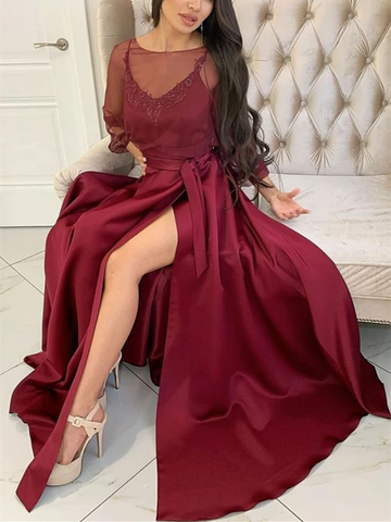 Long Sleeves Maroon Long Prom Dresses with High Leg Slit, Burgundy Formal Evening Graduation Dresses