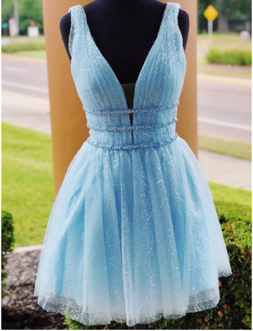 V Neck Short Blue Prom Dressses, Short Blue Fomal Homecoming Graduation Dresses
