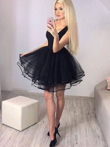 Cute black tulle short prom dress, Black tulle short graduation dress