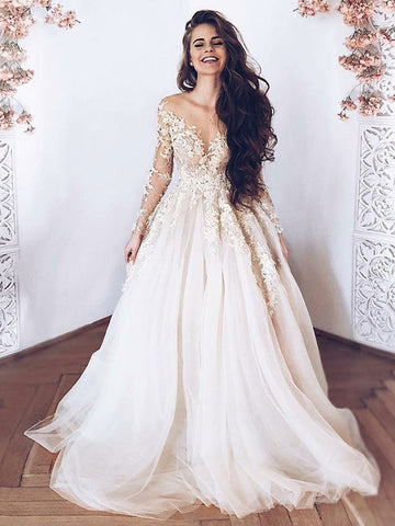 Champagne Lace Appliques Tulle Long Prom Dresses With Long Sleeves, Champagne Lace Wedding Dresses