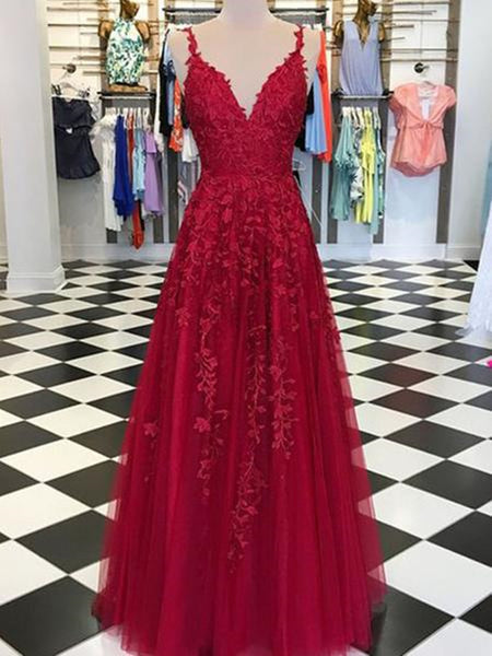 A Line V Neck Tulle Lace Long Prom Dresses, V Neck Floor Length Applique Formal Dresses