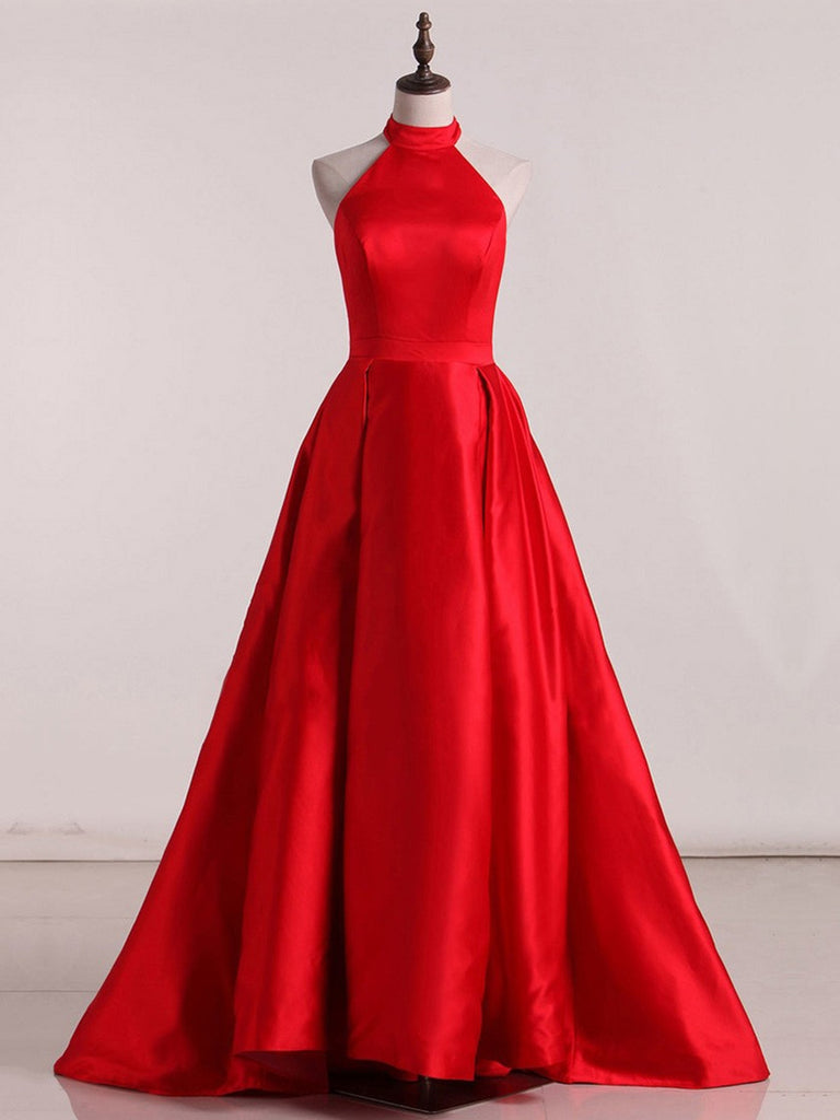 High Neck Red Satin Long Prom Dresses With Sweep Train, High Neck Red Satin Long Evening Dresses