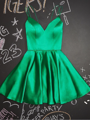 A Line Simple V Neck Green Short Prom Dresses, Short Green V Neck Formal Homecoming Evening Dresses