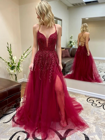 V Neck Burgundy Lace Backless Long Prom Dresses with Leg Slit, Backless Burgundy Lace Formal Dresses, Burgundy Lace Backless Evening Dresses