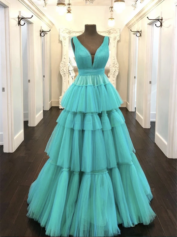 A Line V Neck Green Tulle Long Prom Dresses, V Neck Green Tulle Long Formal Evening Dresses