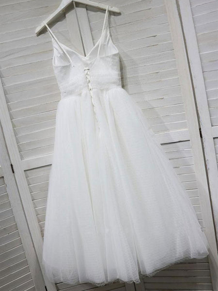 V Neck White Tulle Lace Short Prom Dress, White Tulle Lace Short Formal Evening Graduation Dress