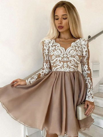 Long Sleeves Champagne Lace Short Prom Dresses, Short Champagne Lace Formal Graduation Evening Dresses