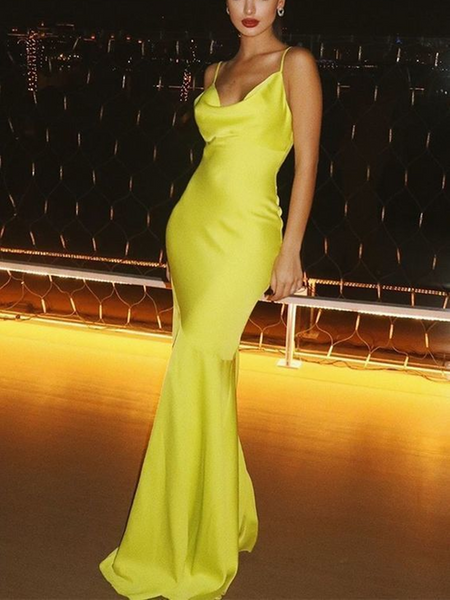 Simple Spaghetti Straps Yellow Long Satin Prom Dresses, Yellow Mermaid Sleeveless Formal Evening Dresses