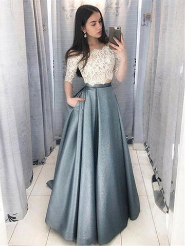 Custom Made Off The Shoulder Half Sleeves With Pockets Long Prom Dresses, White Lace Two Piece Formal Evening Dresses