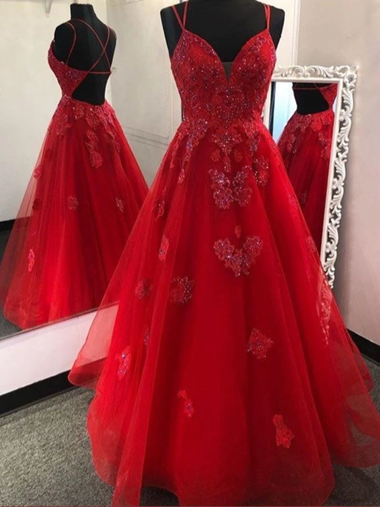 Gorgeous V Neck Backless Red Tulle Lace Long Prom Dresses, Open Back Red Lace Formal Evening Party Dresses