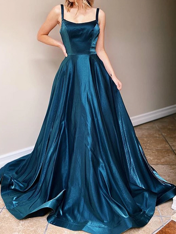 Dark Emerald Green Backless  Long Prom Dresses, Dark Emerald Green Long Formal Evening Dresses