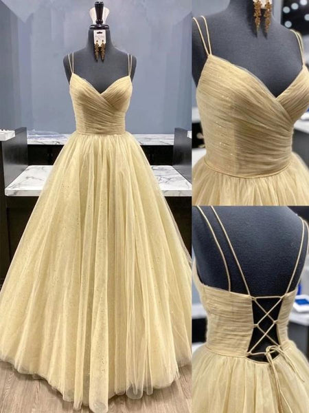 Stylish V Neck Backless Pleated Golden Tulle Prom Dresses, Shiny Open Back Golden Formal Graduation Evening Party Dresses