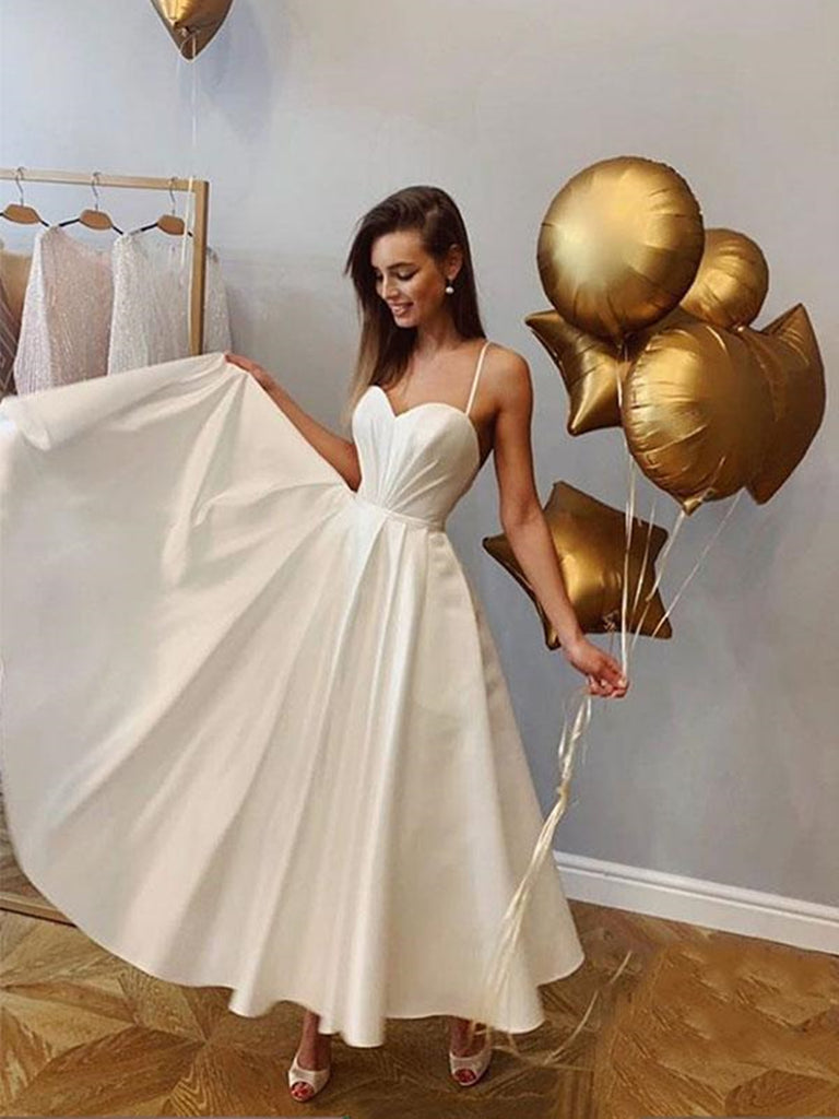 White sweetheart neck long prom dress, White long formal evening dress