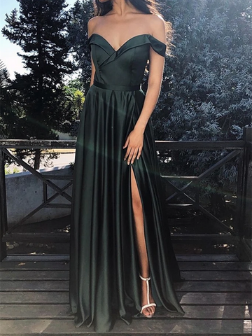 Off The Shoulder Dark Green Satin Long Prom Dresses with High Slit, Off Shoulder Dark Green Formal Graduation Evening Dresses