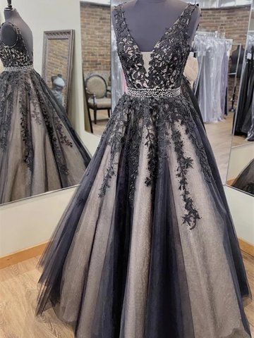 V Neck Backless Black Lace Long Prom Dresses, Black Lace Formal Dresses, Open Back Black Evening Dresses