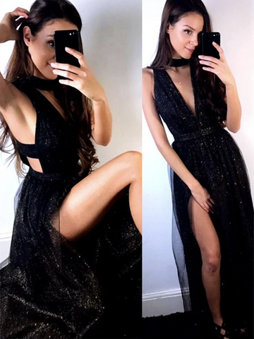 V Neck Black Sequins Tulle Long Prom Dresses With Leg Slit,  Black Sequins Tulle Long Formal Evening Dresses