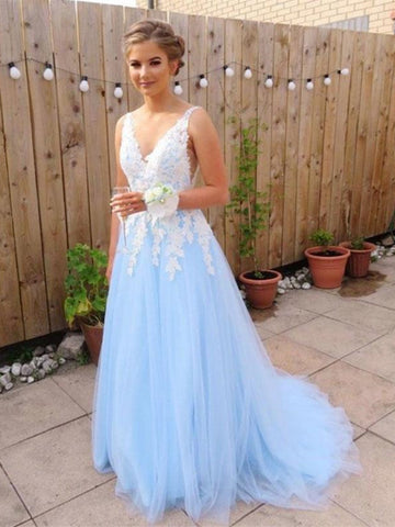 A Line V Neck Blue Lace Long Prom Dresses, Blue Lace Long Formal Evening Dresses