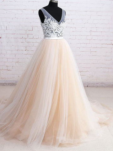 V Neck White And Champagne Tulle Floral Ball Gown Prom Dress, White And Champagne Formal Evening Dress