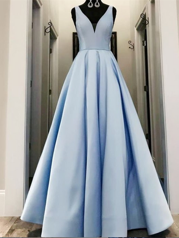 Simple Blue V Neck Satin Long Prom Dress,  Blue V Neck Satin Long Formal Evening Dress