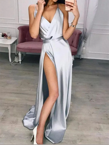 Silver V Neck Satin Long Prom Dresses With Leg Slit, Silver V Neck Satin Long Formal Evening Dresses