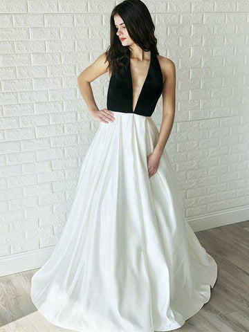 Simple White and Black Satin Backless Long Prom Dress With Deep V Neck, White Backless Formal Evening Dress