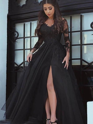Lace Black Long-Sleeve Evening Dress With Leg Slit, Lace Black Prom Dress